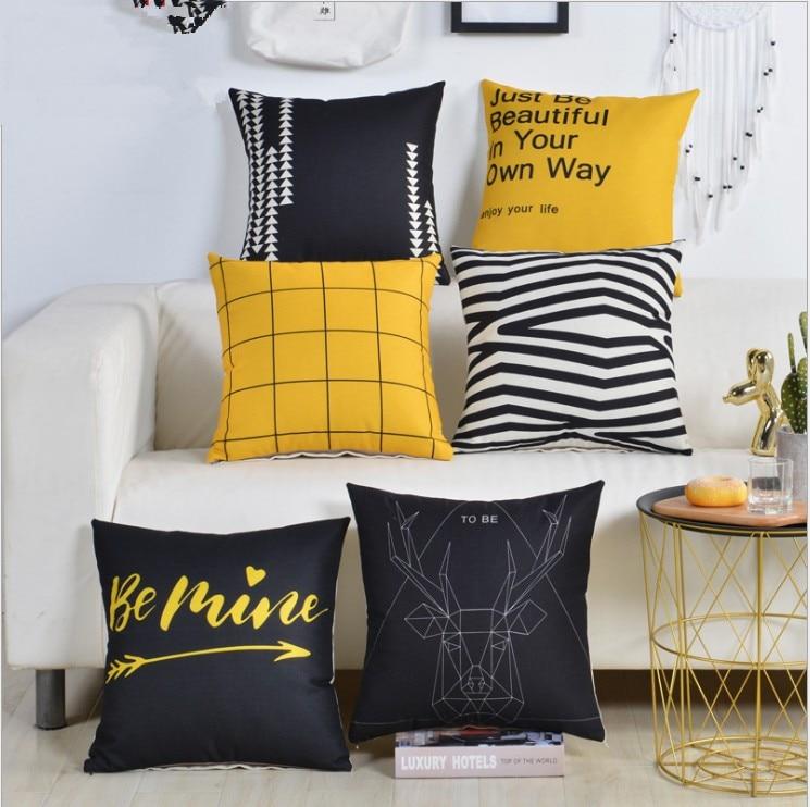 Black Yellow Deer Pillow Cover Plaid
