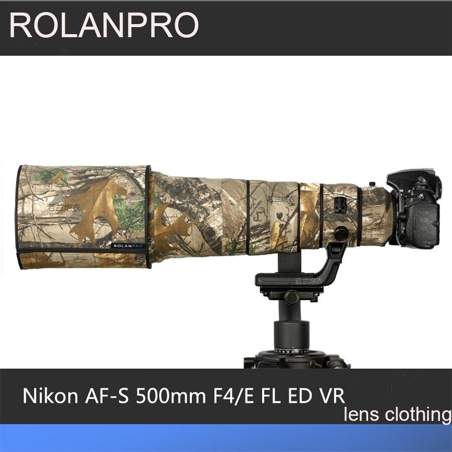ROLANPRO Lens Camouflage Coat Rain Cover for Nikon AF-S 500mm F/4E FL ED VR Lens Protective Sleeve Guns Protrctor DSRL FOTO Bag