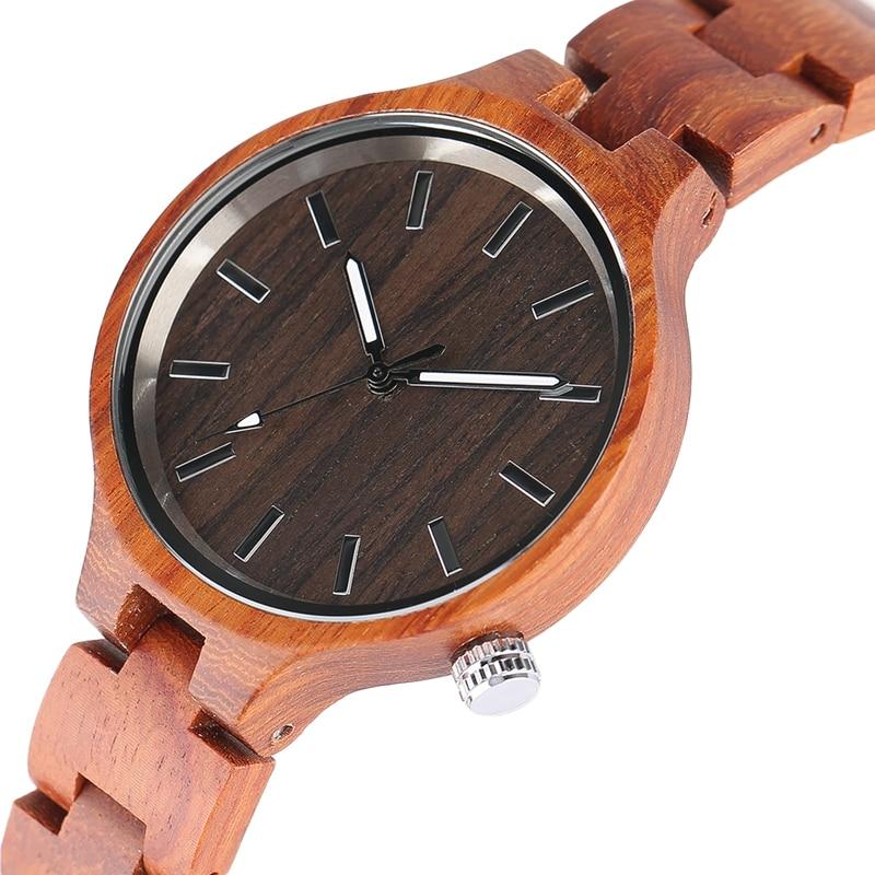 Moda creativa de mujer de madera relojes mujer reloj de pulsera de bambú hecho a mano correa de madera nueva reloj de cuarzo relogio feminino caliente