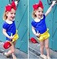 Белоснежка Принцесса ползунки девочка ползунки детская одежда для девочек, детская одежда 2017 лето, newborn1-4Y детские костюмы прекрасный 3 шт.