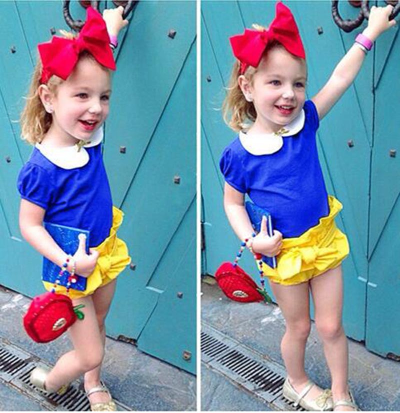 SnowWhite Princess romper Baby girl romper baby girls clothes,baby clothing 2017 summer,newborn1-4Y baby costume lovely 3pcs summer newborn baby rompers ruffle baby girl clothes princess baby girls romper with headband costume overalls baby clothes