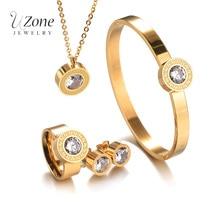 Известный бренд сменный комплект ювелирных изделий CZ Кристалл Золото Цвет Нержавеющая сталь Цепочки и ожерелья серьги для Для женщин подарок