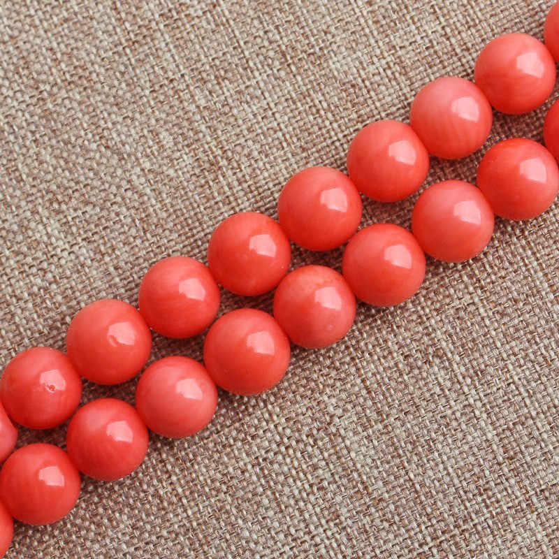 Round Salmon/Pink Coral Stone Loose Beads 4mm 6mm 8mm 10mm Size 15.5 Inch Strand for Jewelry Making
