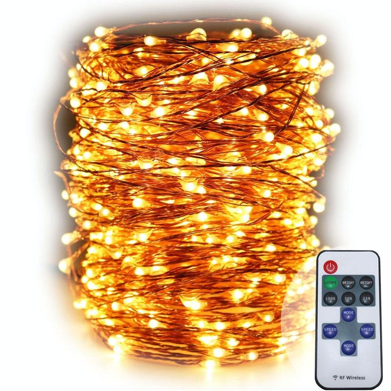 165FT / 50M LED telekomandë teli bakri bakri zanash dritat e - Ndriçimi i pushimeve - Foto 2