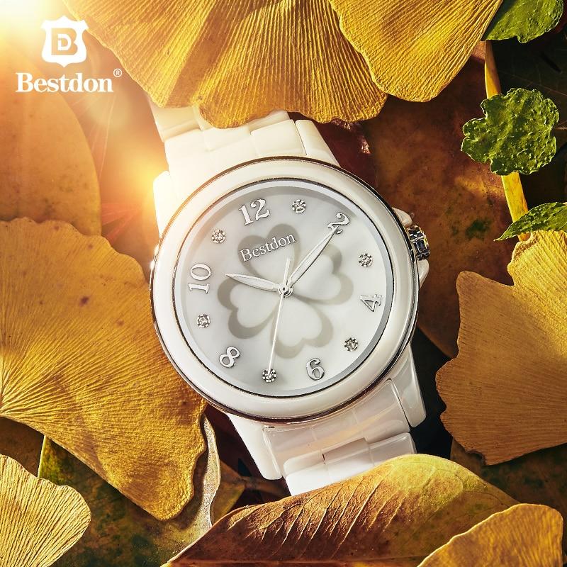 Bestdon chanceux trèfle dames montre céramique saphir montre-bracelet femmes étanche lumineux importation Quartz horloge marque de luxe femme