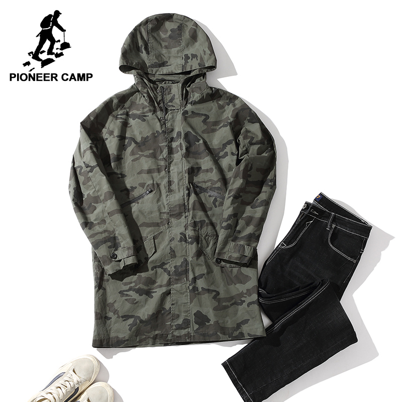 Pioneer Camp long camouflage jacket coat men brand-clothing autumn hoodies jacket male top quality stretch outerwear AJK701335