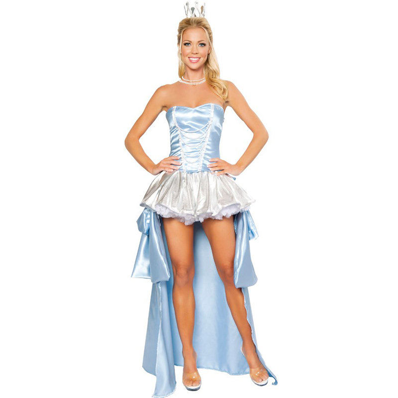 Home Dashing Cinderella Princess Cosplay Cinderella Dress For Adult Women Blue Deluxe Cinderella Cosplay Costume Girl Wedding Dress Low Price