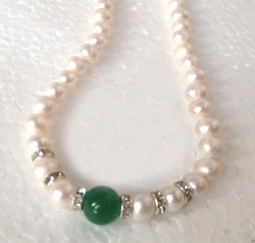 22 Hot South sea white 12mm green jade pearl necklace 22inch 925silver clasp
