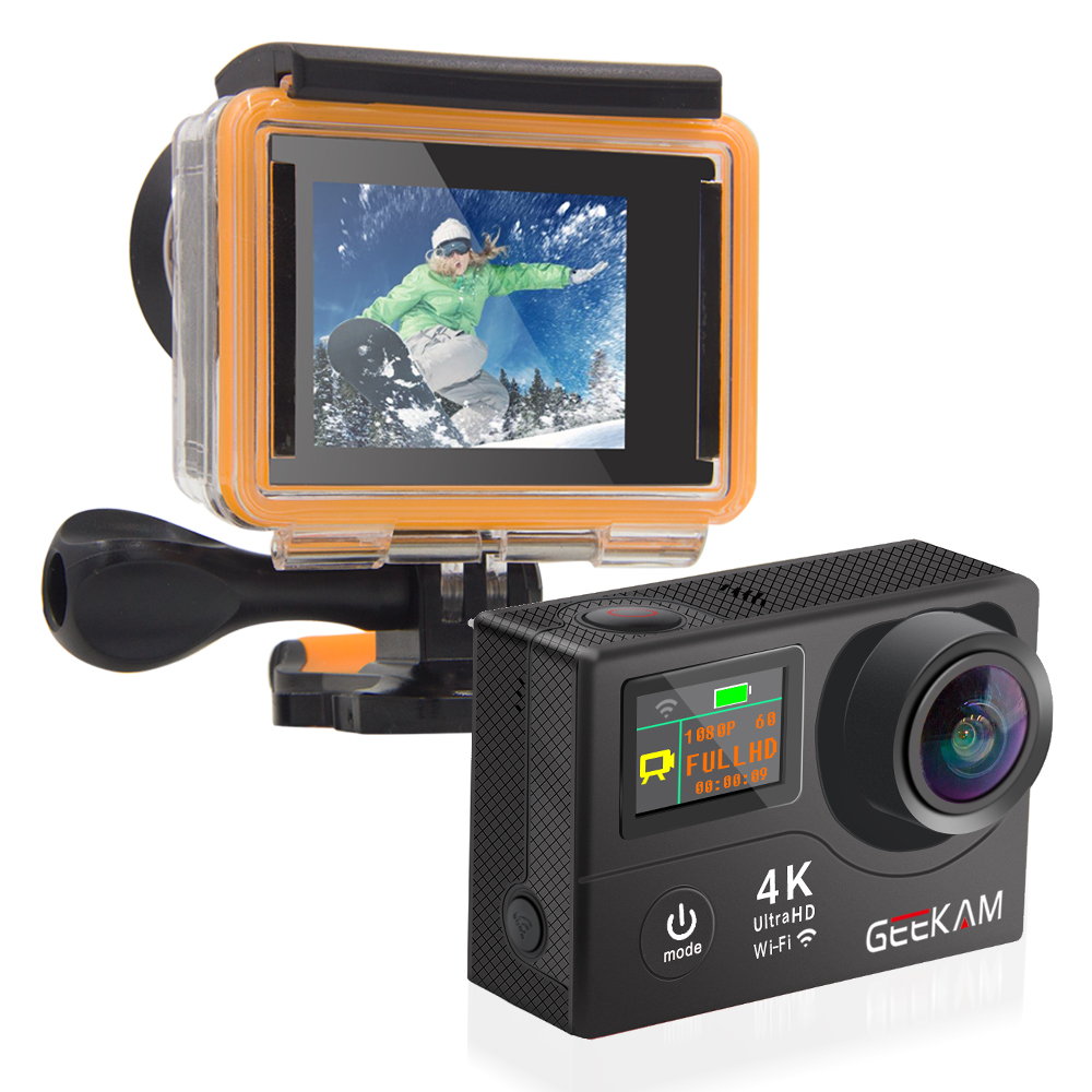 """Image 5 - GEEKAM H3R/H3 Action Camera Ultra HD 4K/30fps 20MP WiFi 2.0"""" 170D Dual Screen Waterproof Helmet Video Recording Camera Sport Cam-in Sports & Action Video Camera from Consumer Electronics"""