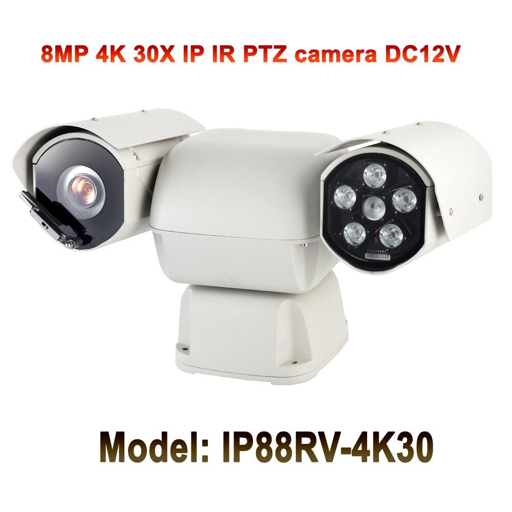 8MP Ultra HD vision nocturne 100 m caméra IP Ptz montée sur véhicule 4 k 360 degrés caméra de Rotation pour la sécurité des bus et des voitures