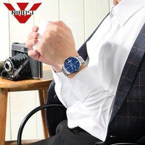 Image 5 - NIBOSI Luxus Uhr Männer Armbanduhr Sport Wasserdichte Uhr Mode Relogio Masculino Silber Blau Quarz Uhr Armbanduhren Saat