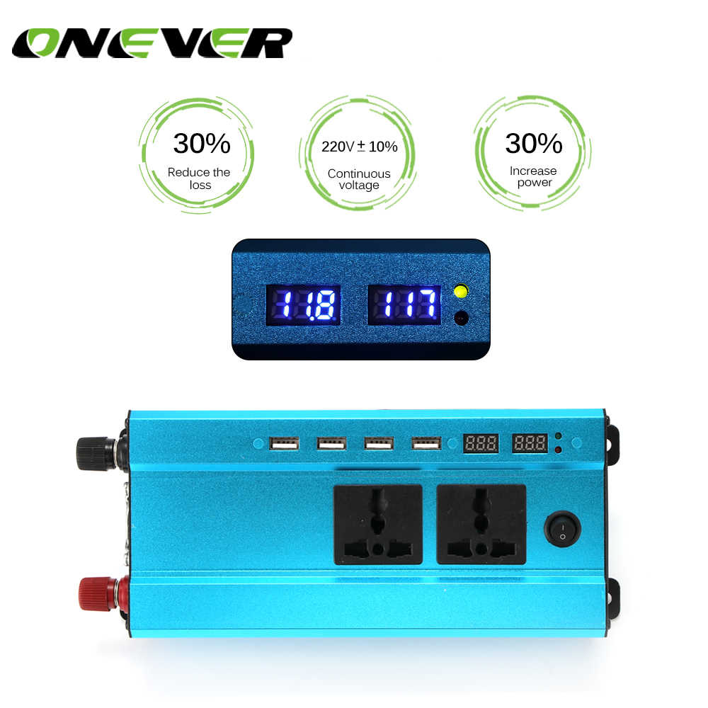 Onever 4000W Car Inverter LED DC 12V to AC 110V Sine Wave Converter with 4 USB Interfaces Voltage Transformer Adapter Charger
