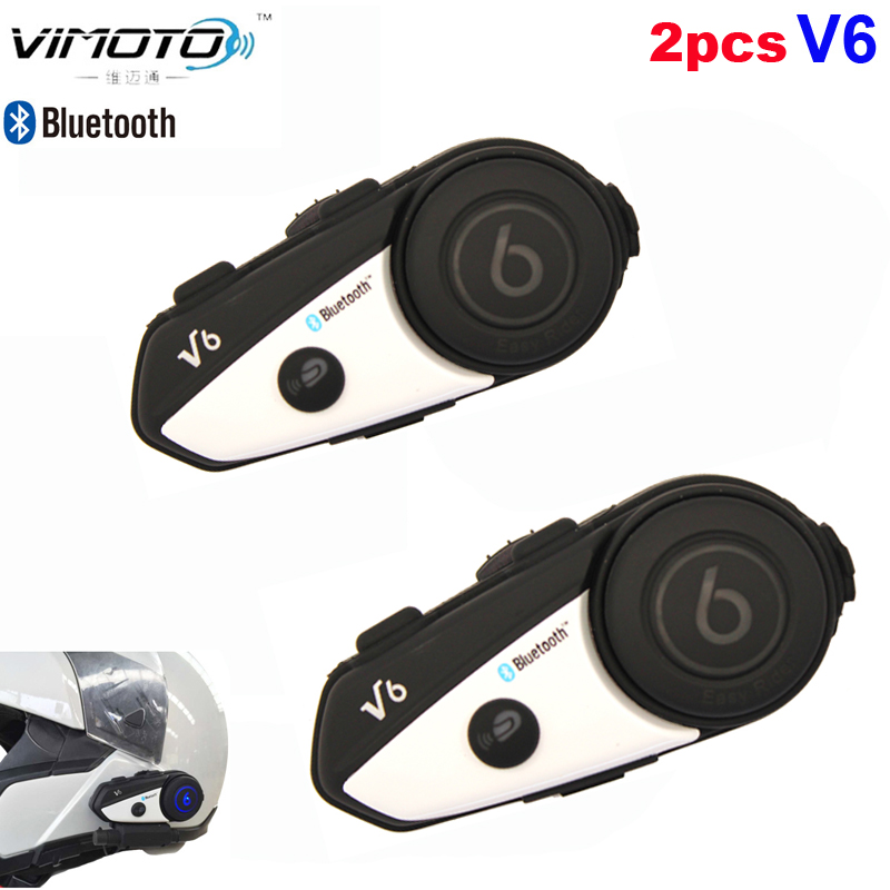 English Version 2pcs Vimoto V6 Intercom Motorcycle Bluetooth Helmet Headset Headphone Multipoint Connection GPS BT Interphone