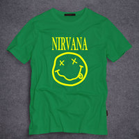 New Summer Fashion Casual T Shirt Nirvana Smile Print 100% Cotton Tees Tops Men Clothing O-Neck Tops Tees T-Shirt S-5XL