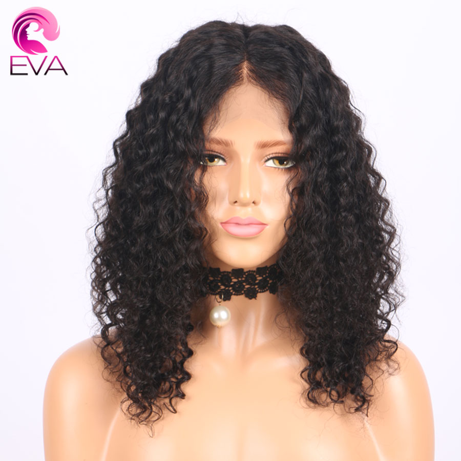 150% Density Curly Lace Front Human Hair Wigs Pre Plucked Eva Hair 13x6 Part Brazilian Remy Hair Short Bob Wigs For Black Women