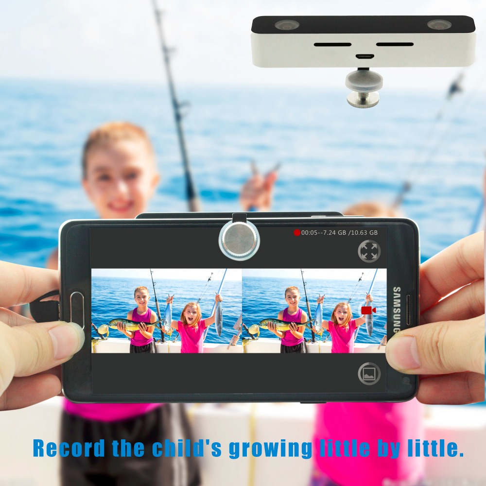 3D Video Camera Dual Wide Viewing Angle Lens 3D Mini Digital Camera for Android Cell Phone