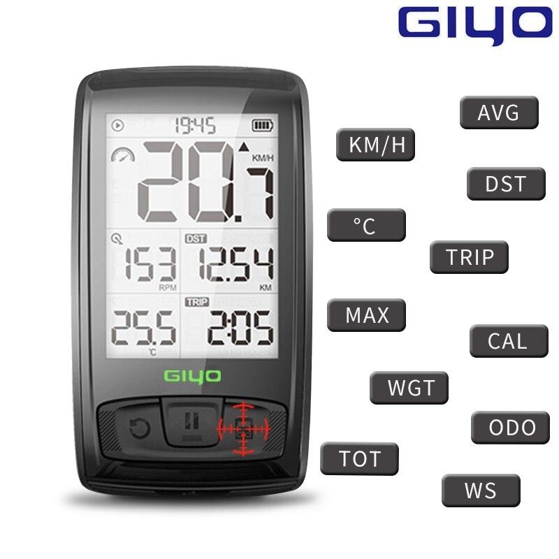 Giyo Bluetooth 4.0 Vélo Ordinateur IPX 5 Étanche Route Vélo Compteur De Vitesse Sans Fil Candence VTT Odographe Vélo D'odomètre