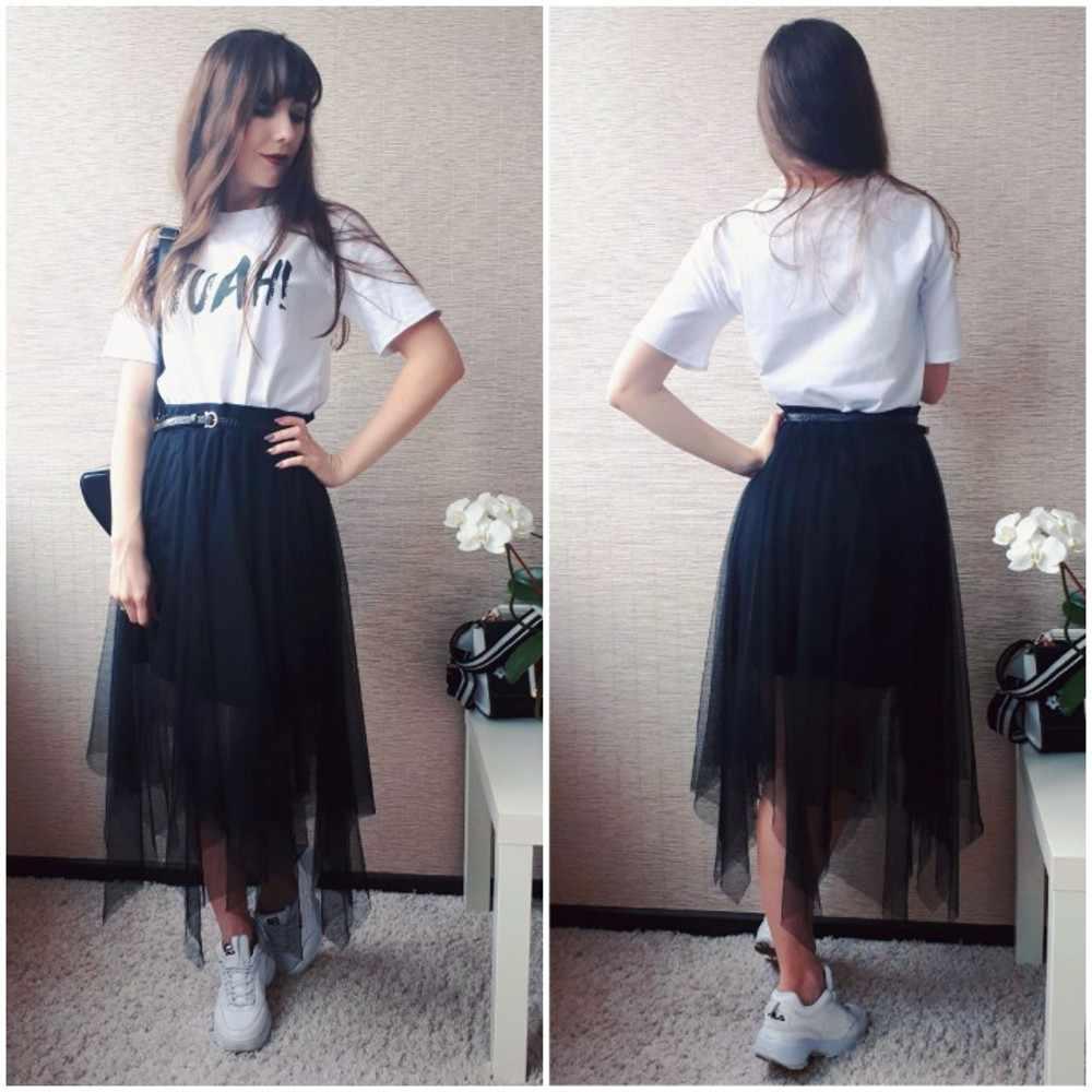 da3e6c2b7f Detail Feedback Questions about Tulle Skirts Womens Fashion Elastic High  Waist mesh Tutu Skirt White Black Gray long skirts Midi Skirt saias faldas  jupe ...