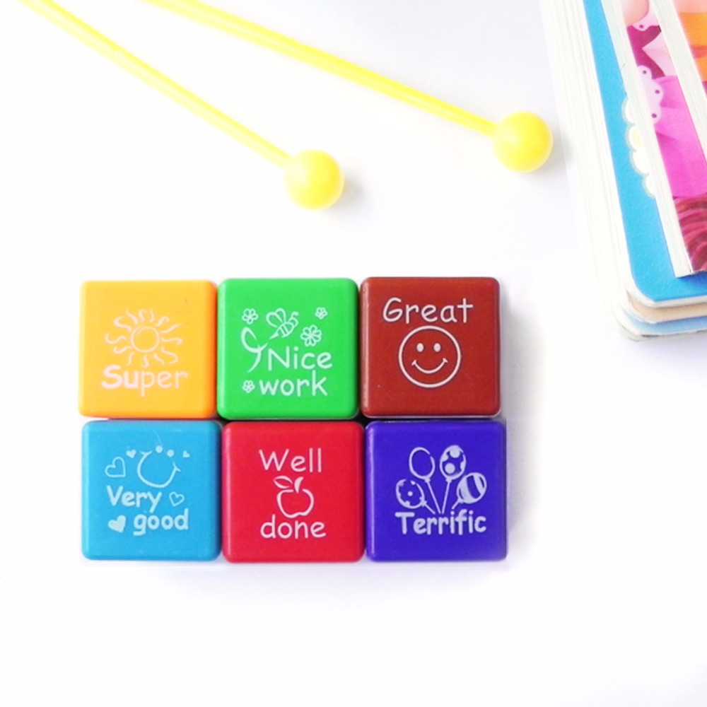 6pcs/set  6 Comment Styles Super Cute Teachers StampersA Written Text Or Drawing  Self Inking School Praise Reward  Stamps