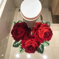 Handmade Rose Embroidery Rug high quality bedroom carpet romantic Pink/Red rose pattern Carpets 70*60cm Closestool Antiskid Mats