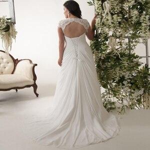Image 2 - Jiayigong robe De mariée en mousseline De soie, robe Stock, robe De mariée grande taille, avec manches Cap, col en v, bon marché