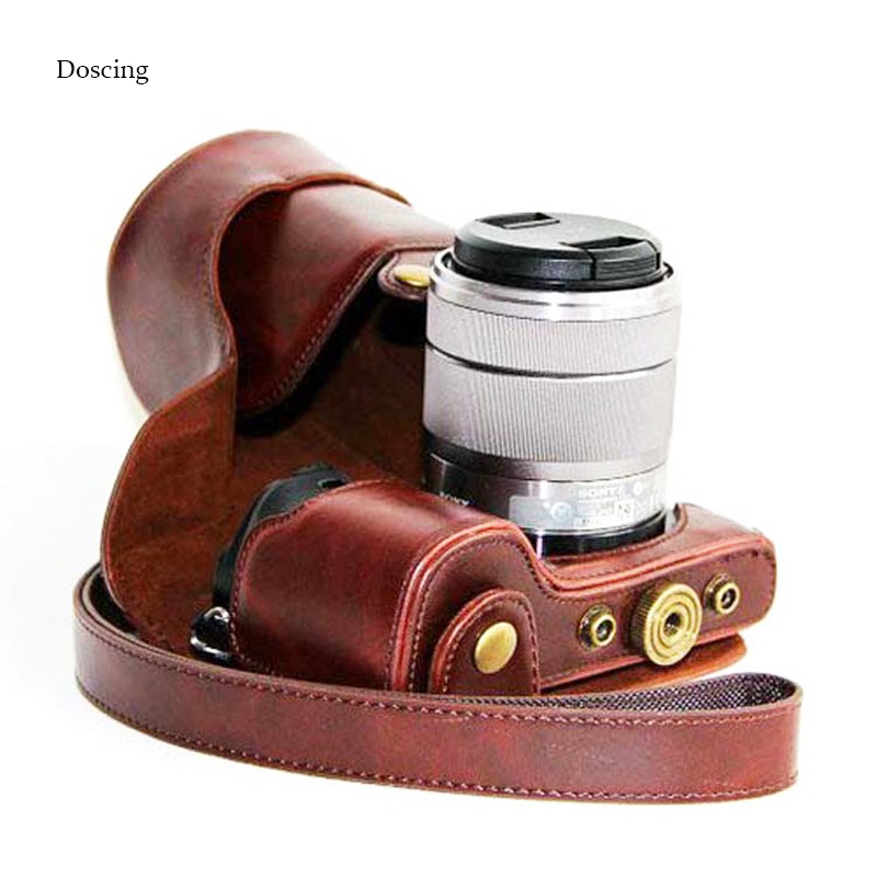 15ba40c9415b8 5 ألوان عالية الجودة صورة حقيبة بو الجلود خمر حالة الكاميرا لسوني Nex6 ILCE  A6000 16-50 ملليمتر مع وحشوة كتف جلدية