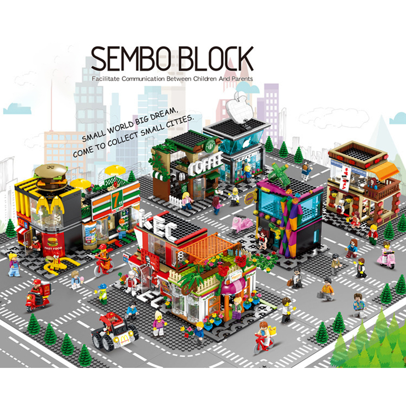 Single Legoingl Mini City Street Series Food Candy Pizza Ice Cream Shop Bookstore MOC Building Blocks Kids Educational Toys