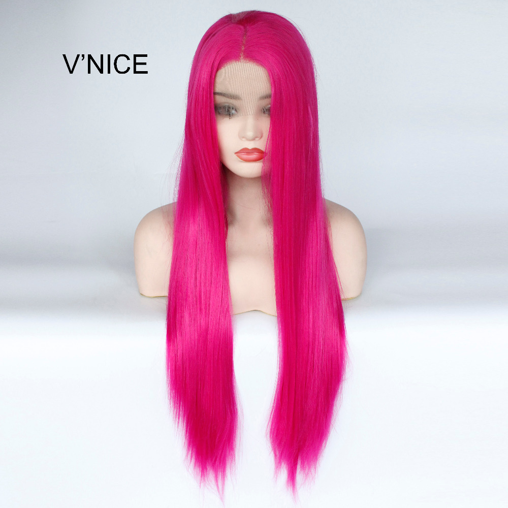 VNICE Rose Pink Wig Middle Part Synthetic Lace Front Straight Wig for Women Natural Looking Heat