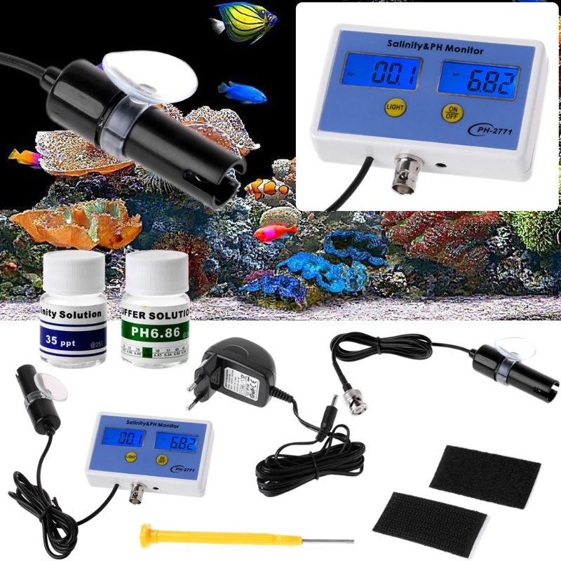 OOTDTY 2in1 Digital Salinity & PH Meter Water Quality Monitor Test pH-2771 for Aquarium