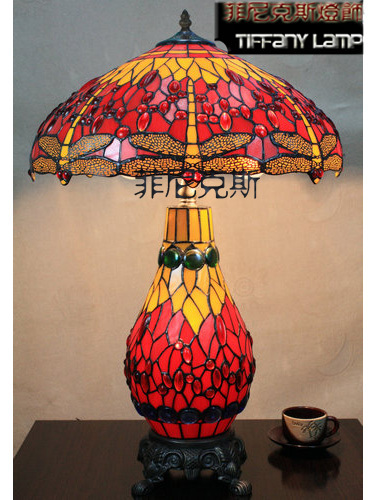 For Living Room 18 Inch Tiffany Style Red Dragonfly Picture Lights Art Table  Lamp Dia 45