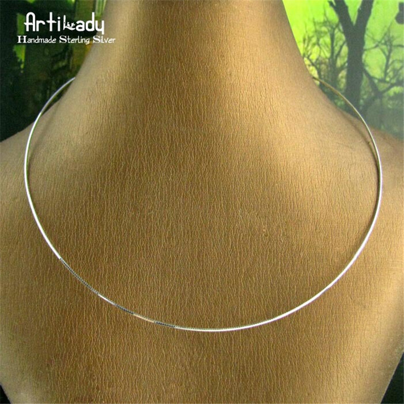 Artilady 925 sterling silver choker necklace silver collar torques minimalist jewelry gift for women dropshipping luxury 925 sterling silver rhinestone torques for women big crystal pendant necklace silver plated banquet costume necklace
