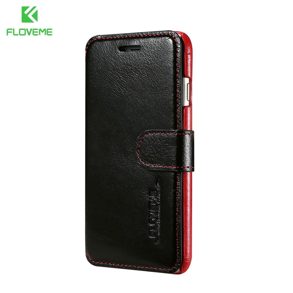 imágenes para Floveme genuino billetera de cuero flip case para iphone 7 6 6 s plus ranura para tarjeta de lujo completa protección case para iphone 6s 6 plus 7 plus
