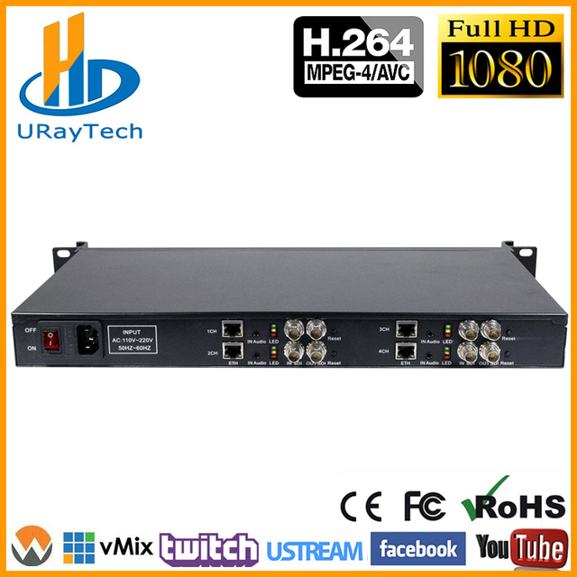 US $809 6 12% OFF|1U 4 Channels H 264 SD HD 3G SDI To IP Video Streaming  Encoder H264 RTSP RTMP Encoder For IPTV, Live Streaming Broadcast,  Server-in