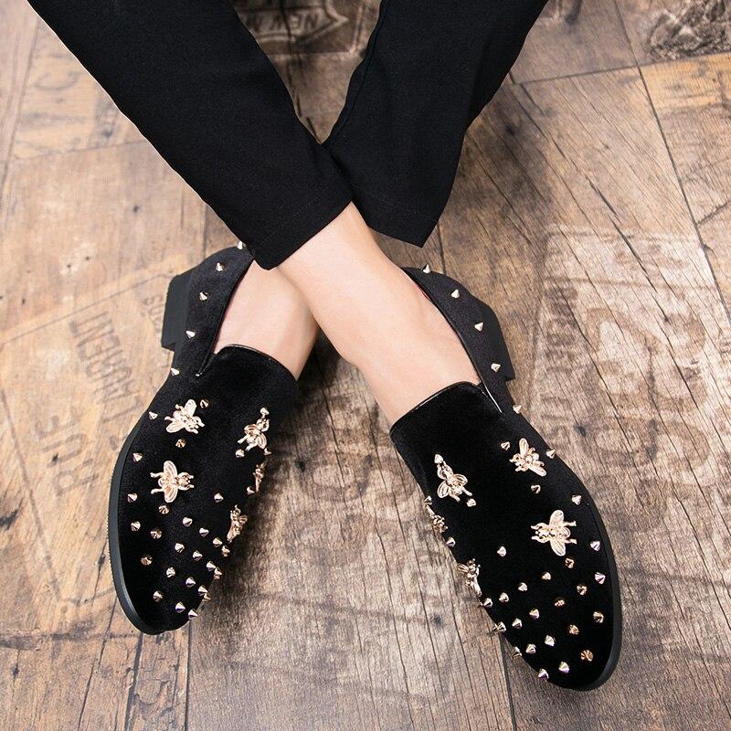 HTB1RtlWXJfvK1RjSspoq6zfNpXaO New Fashion Gold Top and Metal Toe Men Velvet Dress shoes Italian men's dress shoes Handmade Loafers