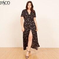 MCO 2018 Flower Printing Plus Size Kimono Midi Dress Sexy V Neck Bohemia Beach Dresses Basic Large Code Women Clothing 3xl 7xl