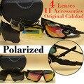 Polarizadas gafas de sol deportivas 4 Unidades lentes intercambiables para el ciclismo al aire libre pesca correr conducción gafas gafas de sol 2017 new
