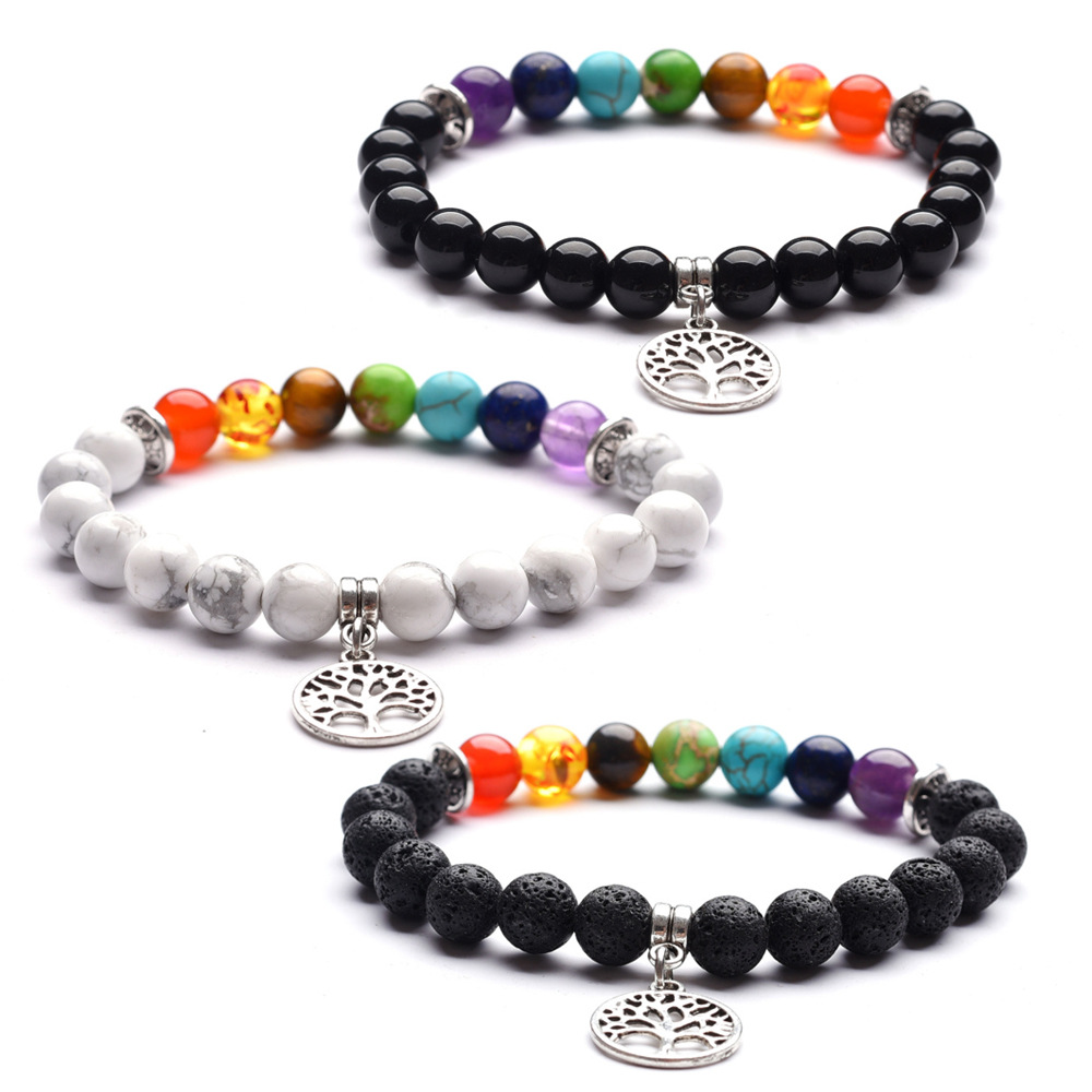 3styles 8mm Lava Stone Tree Of Life 7 Chakra Beads Bracelet Aromatherapy Essential Oil Diffuser Bracelets Jewelry