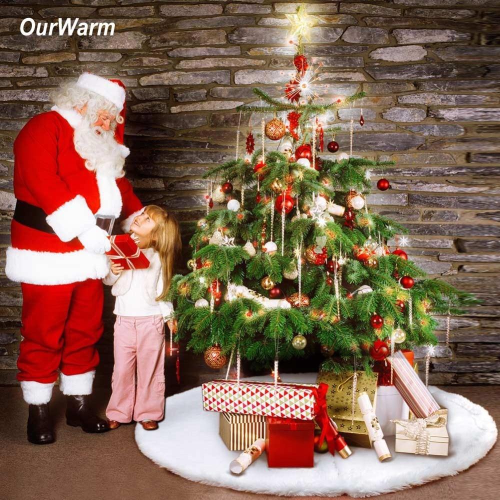 OurWarm 122cm White faux fur Christmas Tree Skirt Plush Christmas Tree Carpet Christmas Tree ...