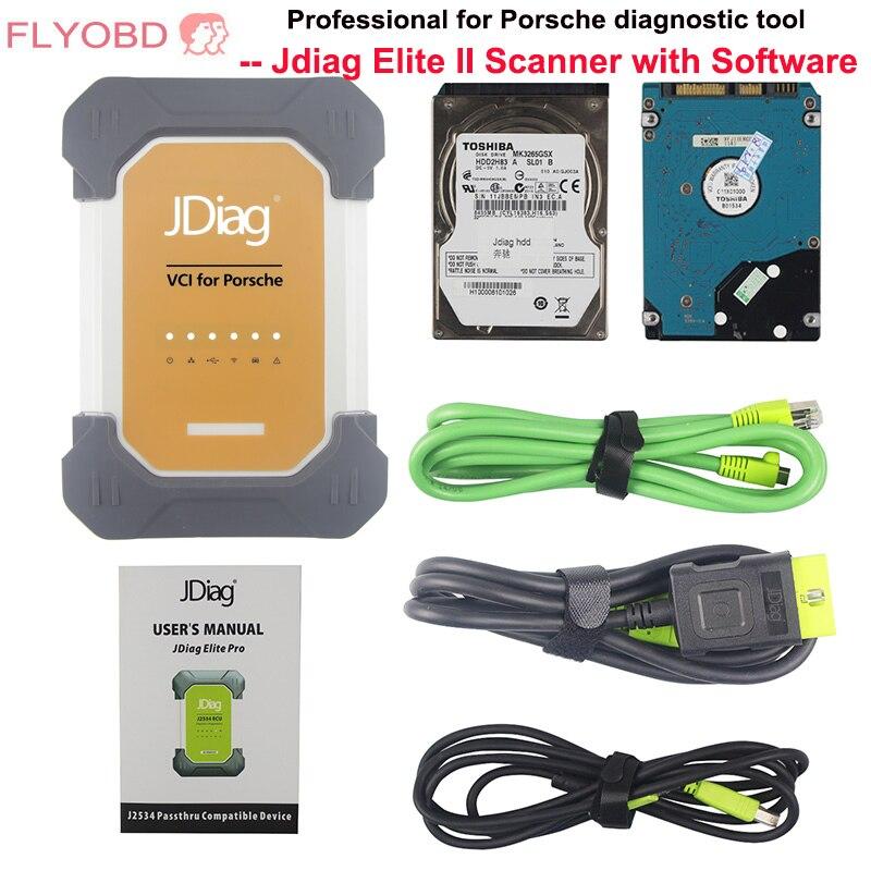 JDiag Elite II pro Universel Voiture J2534 CF-19 i5 De Diagnostic ECU Programmeur pour porsche avec un logiciel professionnel outil de diagnostic