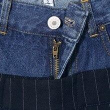 بنطلون كاجوال قماش واسع الساق بخصر عالي من الجينز