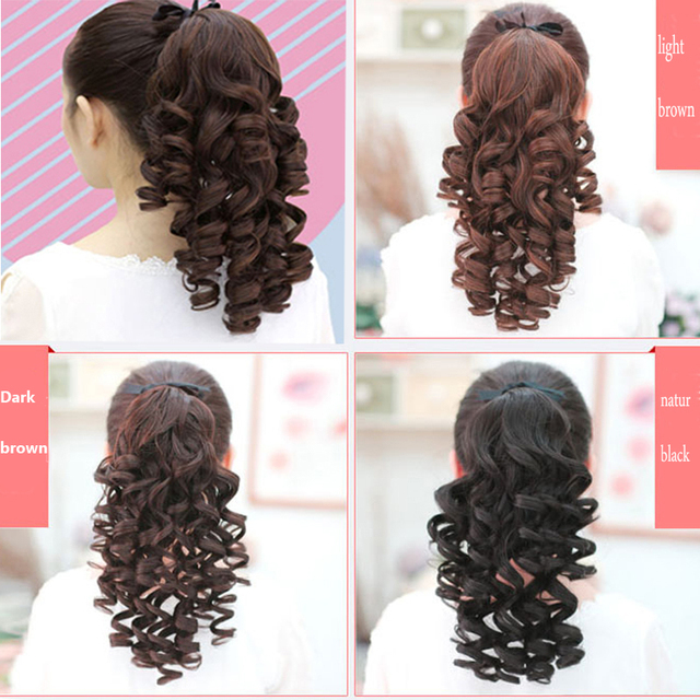 SHANGKE Short Curly Ponytails Clip In Fake Hair Extensions Natual Clip In Hair Tails Heat Resistant Synthetic Ponytail 4