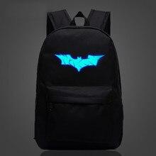 Модные Бэтмен световой мужской печатных рюкзак мультфильм повседневный рюкзак студент нейлоновый рюкзак школьная сумка для подростков мальчиков