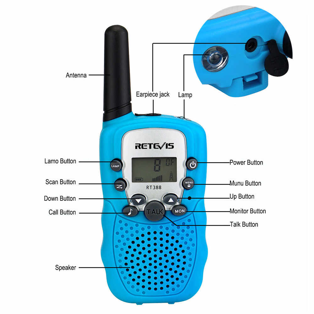 RETEVIS RT388 Walkie Talkie เด็ก 2pcs วิทยุ PMR PMR446 วิทยุ Comunicador VOX ไฟฉายห้าสีของเล่น walkie Talkie