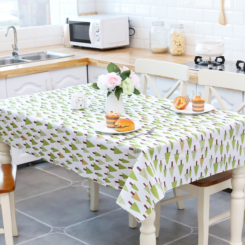 PVC waterproof oilproof tablecloth no-clean cartoon whale trees Restaurant Tablecloth Coffee Table Mat rectangle table cover