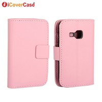 PU Wallet Leather Case For Samsung Galaxy Mini 2 S6500 With Stand TV Function Card Holder