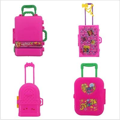 lot  New bag Luggage For barbie doll  Fashion Plastic trolley case 4 pcs