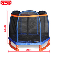 GSD High quality 7 Feet Kids hexagon Trampoline with cap shape SafetyNet Fits and shoes bag,CE,EN71 approval