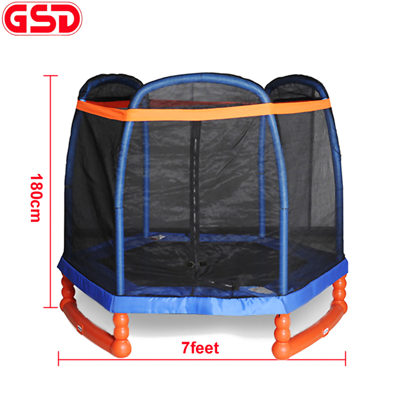 GSD 고품질 7 피트 키즈 육각 트램 폴린 (캡 모양 포함) SafetyNet Fits and shoes bag, CE, EN71 승인