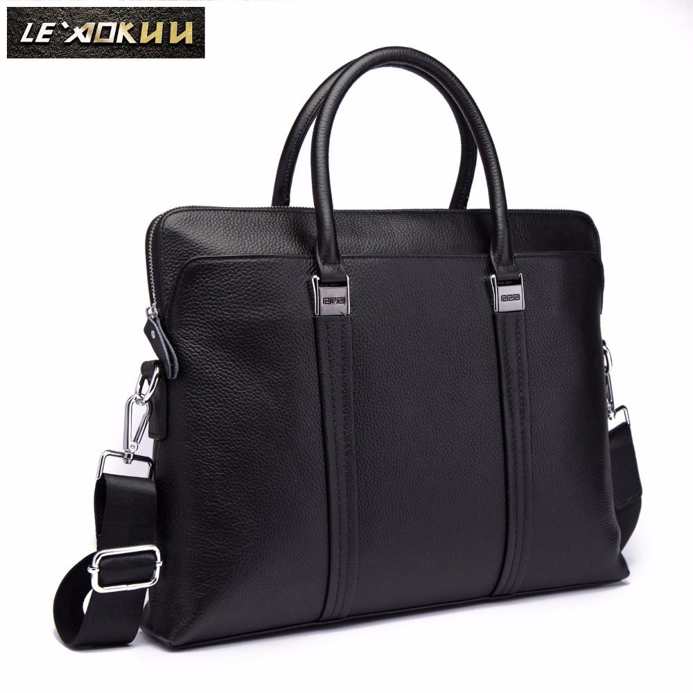 Men Genuine Leather Simple Office Maletas Business Briefcase 15.6