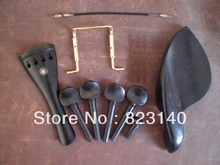 1 Set EBONY Violin Fitting with tail gut and GOLD Chin Rest Screw all in 4/4